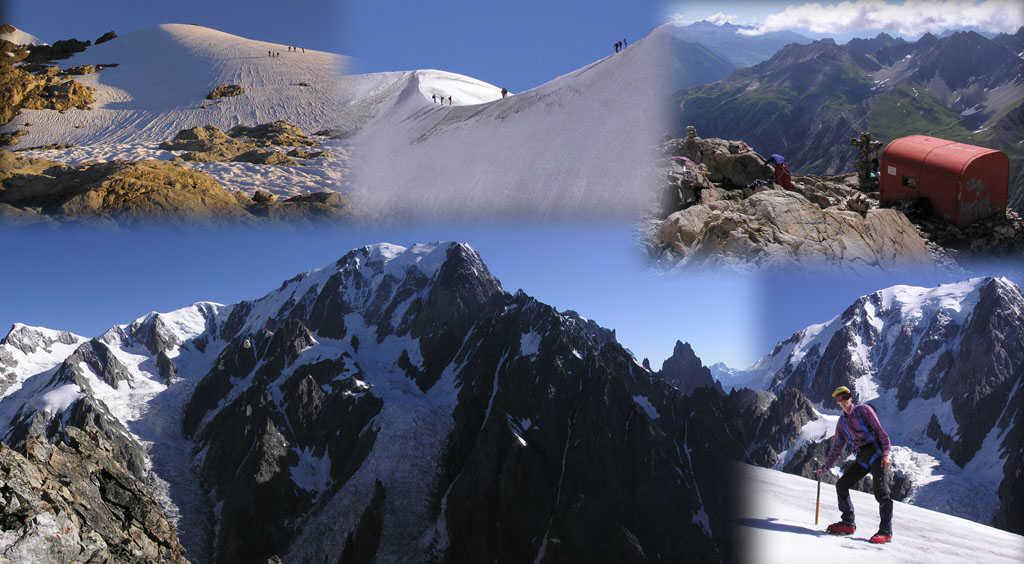 Mosaico di immagini della salita al Petit Mont Blanc