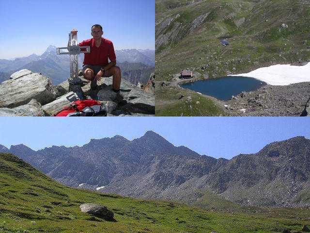 la croce,il rifugio e il lago Verde e la vetta vista da lontano
