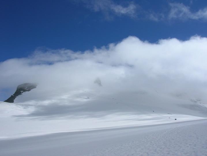 il breithorn occidentale tra le nuvole