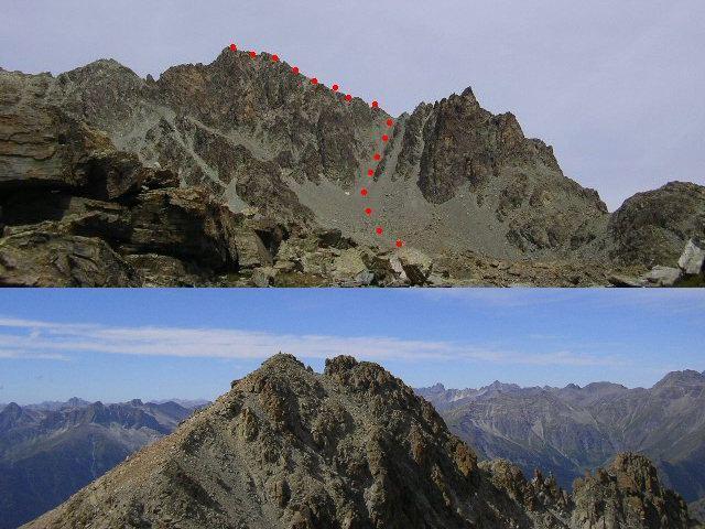 il versante sud fatto in discesa e la punta Dante vista dalla Michelis