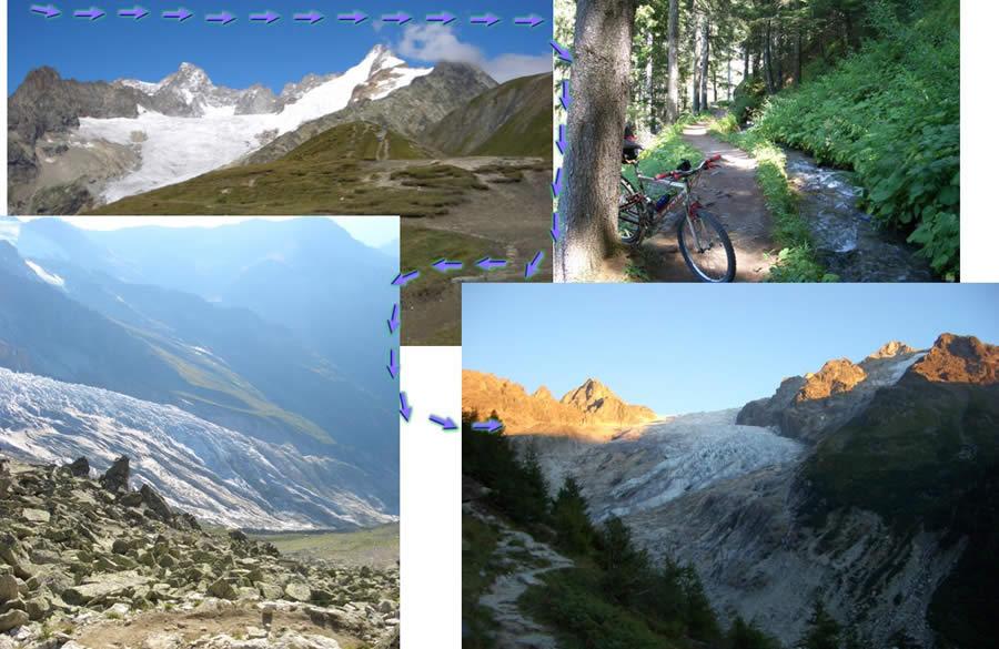 1-Verso Gran Ferret ghiacc.Predebar e spolverata mont Dolent 2-Verso Fenetre Arpette sopra Champex 3-Discesa dall'Arpette ghiacc.Trient 4-Tramonto sul Trient dallo chalet des Glaciers