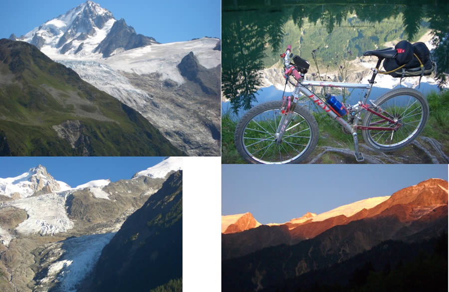 1-dal Col des Posettes l'Aiguille Chardonnet e il Glacier de Tour -2- Chamonix lago a specchio -3- Ghiacciai su Chamonix -4- Tramonto a Les Houches