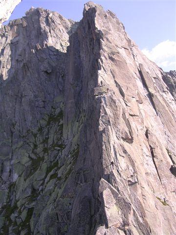 la cresta sud nella parte centrale
