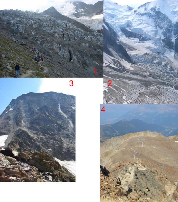 1-Il Glacier Bionnassay coi cantori arrivati in tram 2-Seraccate sotto la cima del Bianco da q.3162 3- Dal rif.Tete Rousse si vede il rif.du Gouter q.3817 4- Sentiero in discesa da Tete Rousse al Tram