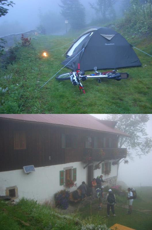 1-La sera ieri al ref.du Nant Borrant: la mia tenda nella nebbia col fuoco inventato da me con resina di pini (Melèze) 2- IL rif. Nant Borrant la mattina: si parte nella nebbia