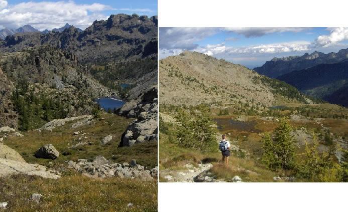 Vista dal Gran Lago verso il Barbustel, scendendo dal Colle del Lago Bianco