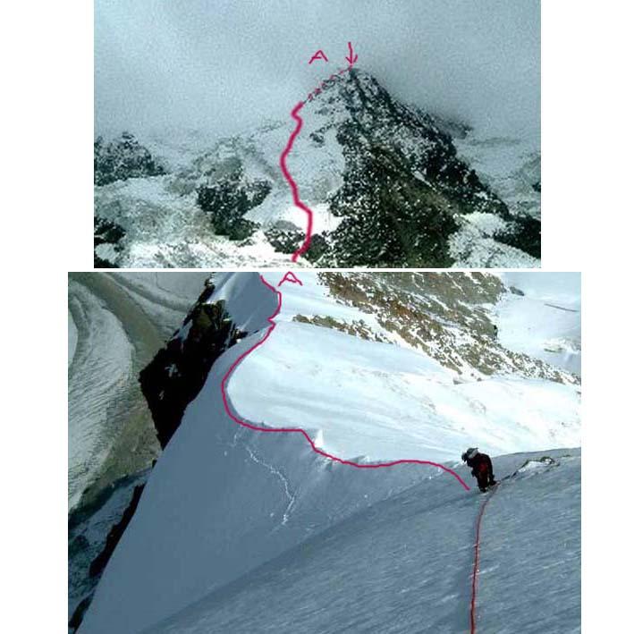 Nella prima foto il percorso della parte bassa in alto la cresta e l'uscita a 55° in vetta