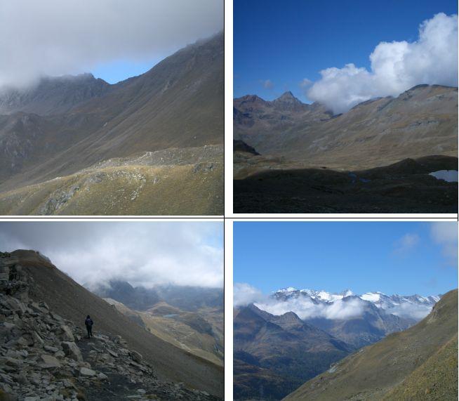in senso orario 1)Col Invergneux 2)alta v. Grauson con l'Emilius al centro 3)panorama sul gruppo del Granpa 4)dal passo verso il lago Ponton