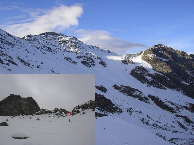 in alto Pelvo e col de Chamoussiere,in basso Alp con in evidenza il canalino