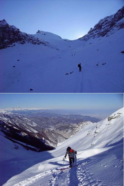 pendii superiori - dall'alto verso valle