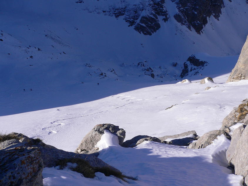 Breve tratto di neve vergine alla partenza