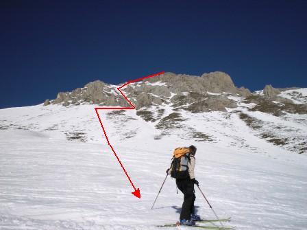 La linea del canaletto. 2 strettoie senza neve chiedono di togliersi gli sci