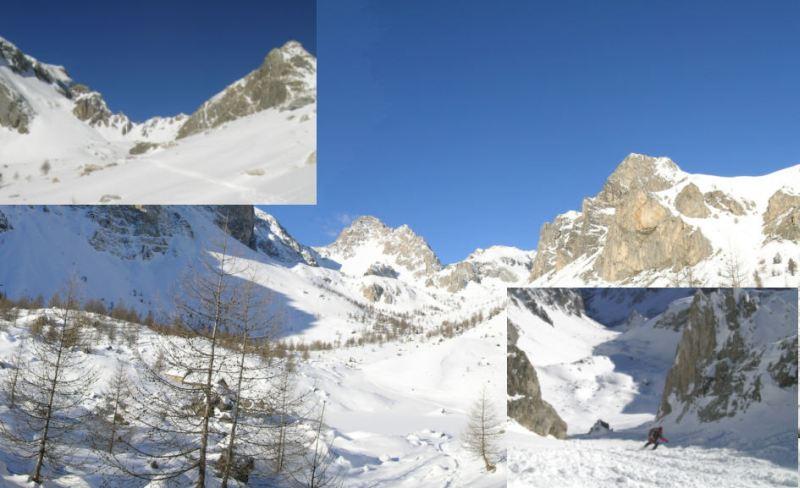 Foto grande: panorama dalla conca della Gorra con l'Oronaye e l'Autovallonasso, foto piccola in alto a sinistra: la parte finale del Vallonetto, foto piccola a destra: Paolo scende dal colletto