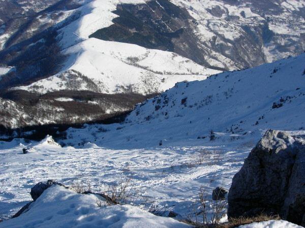 Il pendio superiore, fotografato dalla vetta
