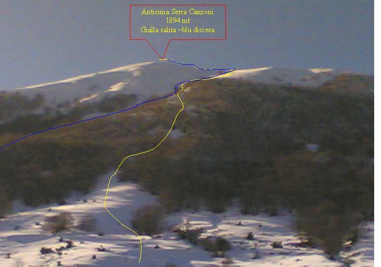 Canzoni (Serra di Monte, anticima 1894 m) da La Prata 2006-01-07