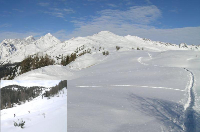 foto grande: dorsale di salita sopra il colle di Bard; foto piccola: pendii di discesa sopra l'alpe Arpilles