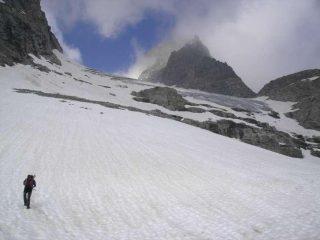 Il ripido scivolo iniziale del ghiacciaio