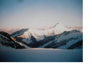 Tramonto sull'Aletschhorn dall'Jungfraufirn