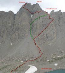 Percorso di salita (in rosso) e variante di discesa (in verde)