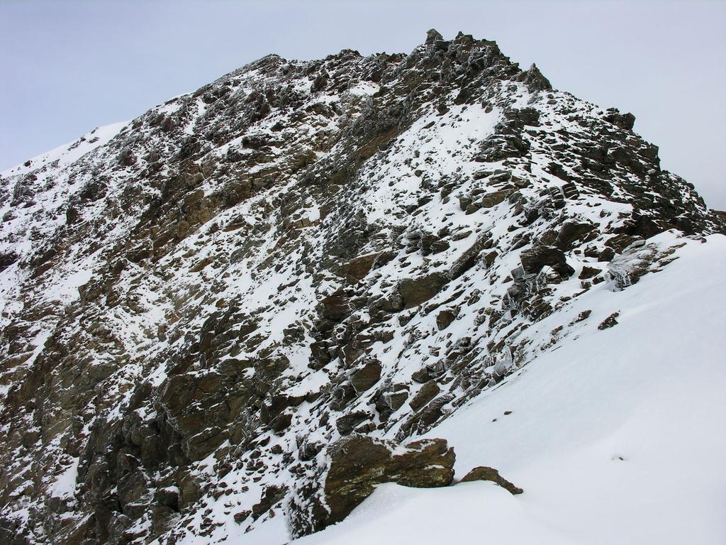 la cresta rocciosa che sale dal Passo della Vedretta Rossa verso il Palon della Mare (27-8-2006)