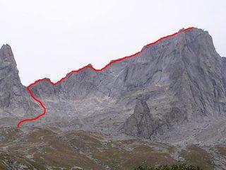 la via di salita dalla Val Porcellizzo