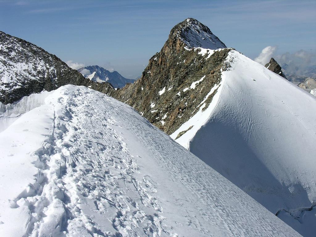 la bella cresta nevosa e la vetta principale del Monte Bellavista (10-9-2006)