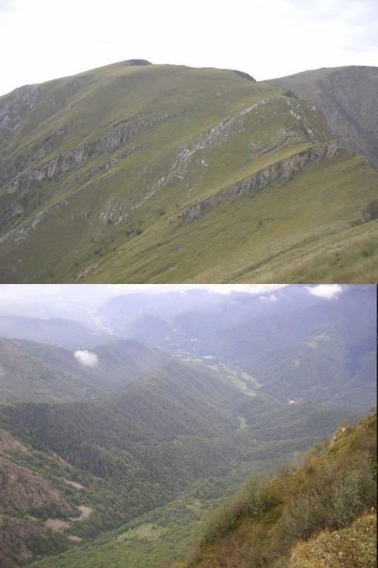 1 la Mirauda e la dorsale est verso la Labiaia 2 il vallone di Cravina