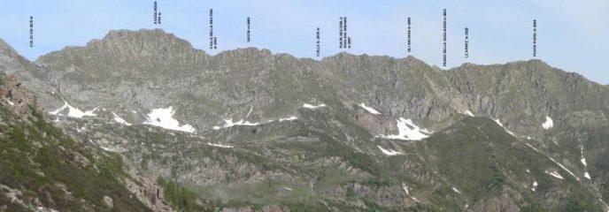 Il tratto di cresta fra il Col di Coi e la Punta Plenc