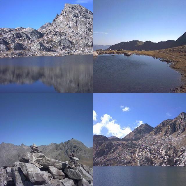 Dall'alto a sx: Lac Fourca, lac inf. du Diable, Lac de la Mouta, panorama dalla vetta.