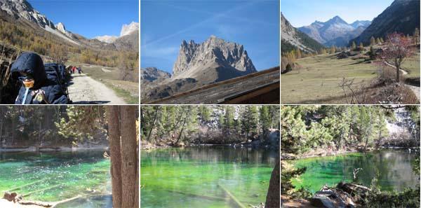 Immagini del lago verde e panorama dalle parti del rifugio Re Magi