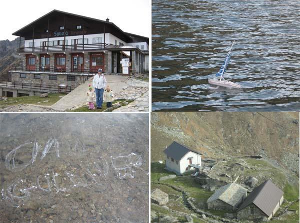 Rifugio Savoia, barchetta in navigazione, messaggio ai gulliveriani on ice... rifugio Rosazza