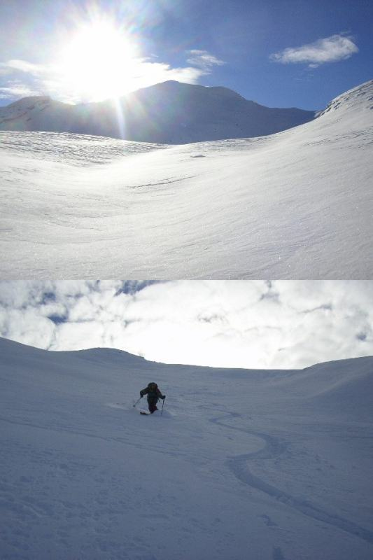1 davanti a noi sole, neve e l'oscuro pendio nord della Tete de Fer 2 Piero pennella sotto la punta