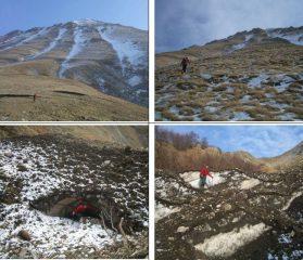Nelle foto in basso: un grosso accumulo di valanga che ha resistito finora dall'inverno passato