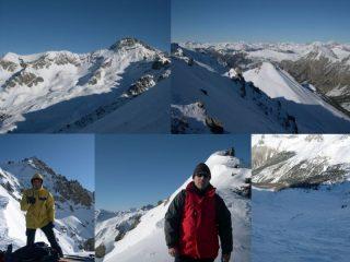 Rochebrune, Arpelin, Giorgio e Roberto al colle, canale di discesa