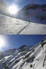 1 il sole verso il p.so Laroussa, a destra l'omonimo vallone 2 200 m di ripido pendio ci separano dalla p.Gioffredo