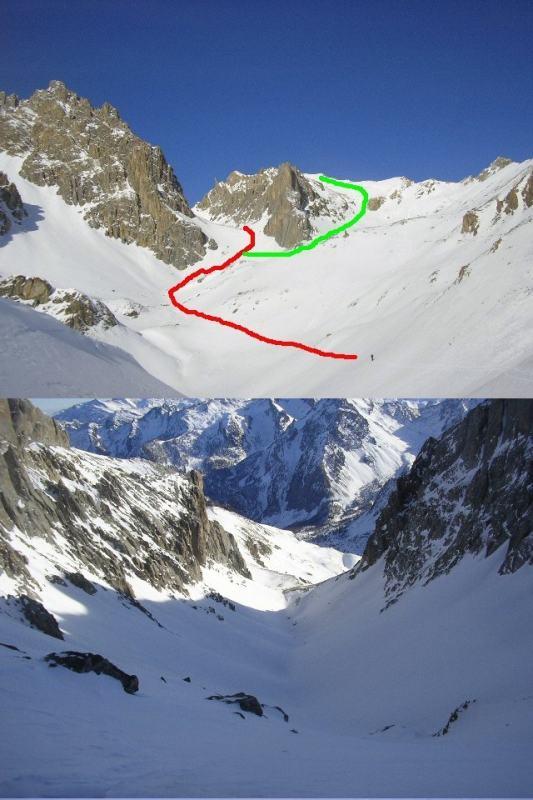 1 in rosso per l'Enchiusa, in verde l'Auto Vallonasso 2 dal colle uno sguardo in giù