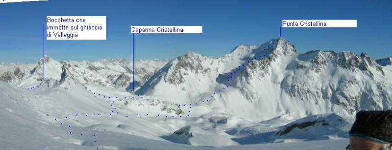 Cristallina, capanne e tracce dalla cresta a sx del Passo della Cima del Lago