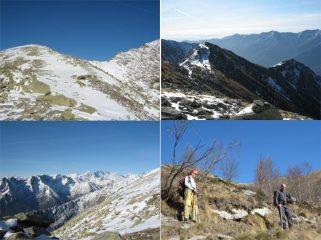 La cresta a sx del colle, il colle e la punta, il panorama verso la valle Orco, incontro con Corrado