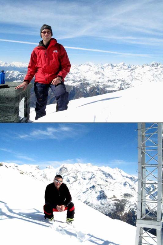 Paolo e Fabrizio in cima, sullo sfondo rispettivamente il Bianco e il Liskamm
