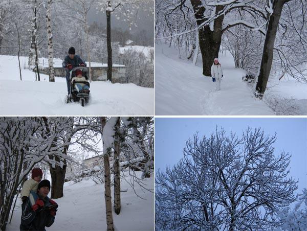 Che fatica col passeggino sulla neve da battere... per la strada delle Trovinasse