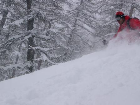 Scendendo tra i pini con la neve alla vita!!!