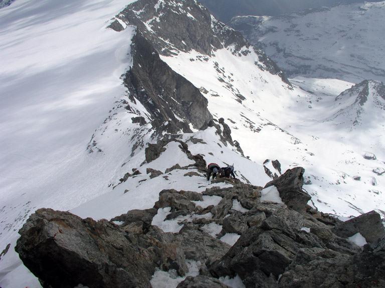La cresta finale vista dalla vetta.