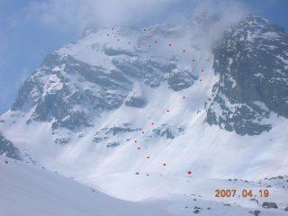 Itinerari parete Rocca Blanca