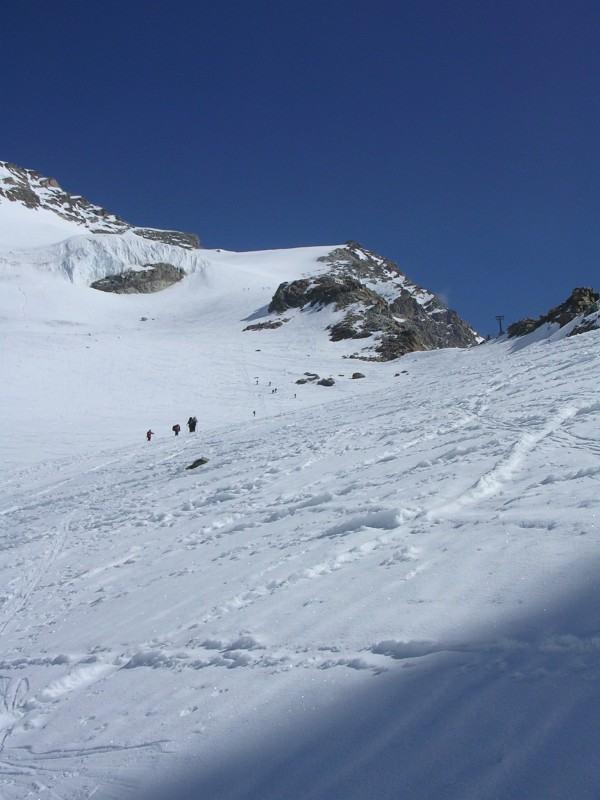 La salita lungo il ghiacciaio d'Indren fino alla Punta Giordani