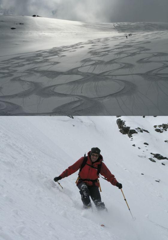 Scie in controluce sul ghiacciaio e Paolo in azione sul ripido seracco