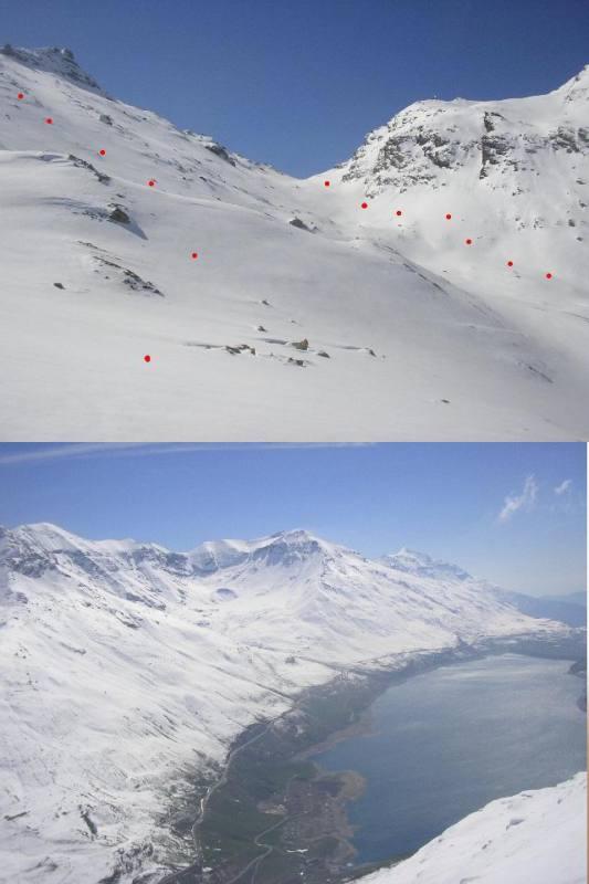 1 una parte delle due discese 2 verso il lago ed il gruppo Roncia-Lamet