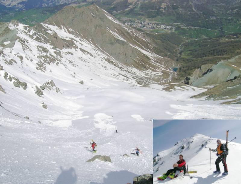 Nella foto grande: il vallone di salita dai bacini del Chisonetto visti dalla cresta. Nelle foto piccola la cresta finale