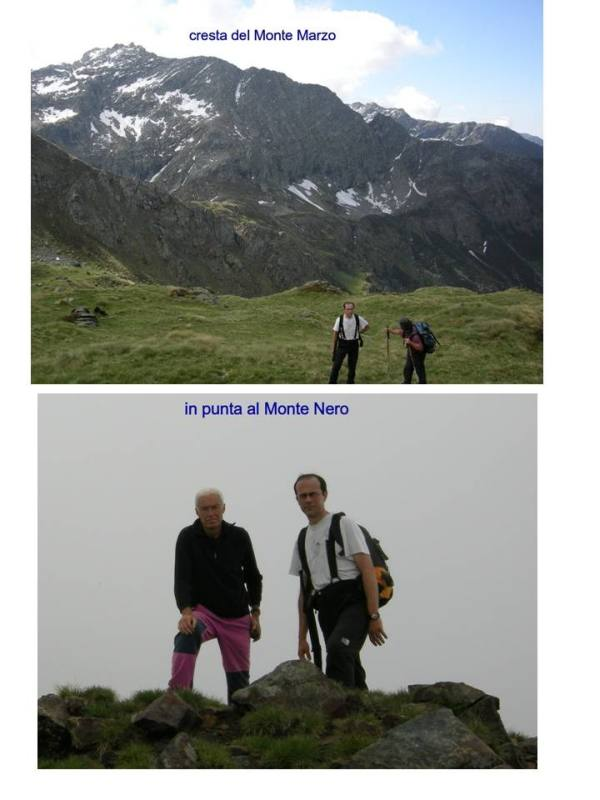 lungo il percorso con la cresta sud del monte Marzo alle spalle e sul monte nero