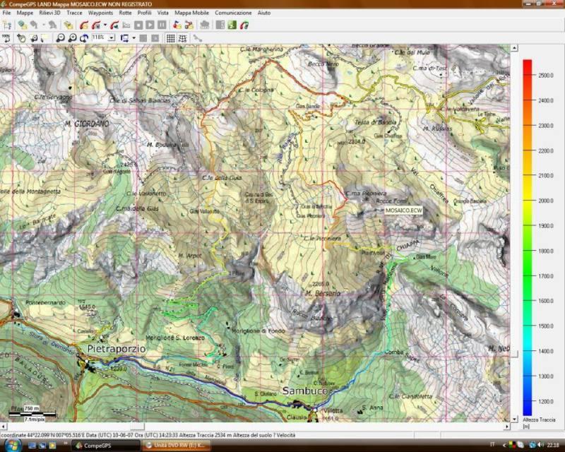 Tracciato Gps su cartina del grande Giolitti