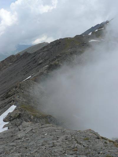 L'inizio della cresta dal colle dell'Arcano